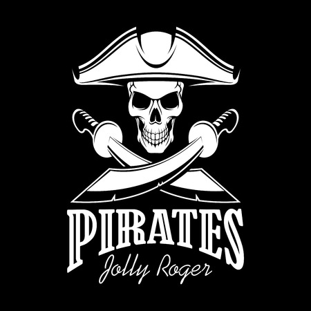 Pirates black flag poster. Symbol of Jolly Roger skeleton skull in tricorn or tricorne captain pirate hat and crossed swords or sabers. Vector design for entertainment party decor, alcohol drink bar or pub emblem or sign Illustration