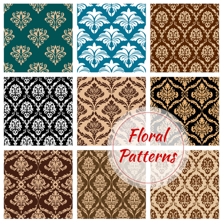 antique wallpaper: Flowery and floral ornate patterns set. Seamless Damask flower ornaments and baroque flourish tiles or backdrops. Ornamental luxury royal tracery adornment and embellishment motif. Vector design for interior Illustration