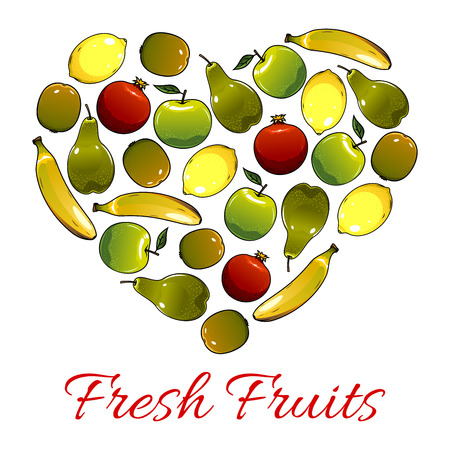 sweet heart: Fruit poster in heart shape of farm and garden ripe fruits apple and pear, juicy citrus lemon and pomegranate, exotic kiwi and tropical sweet banana. Vector fresh organic fruit harvest design for store or market