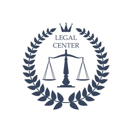 Juridische of juridische belangenbehartiging centrum icoon met Schalen van Justitie symbool, heraldische lauwerkrans en de kroon. Vector kenteken of embleem voor de dienst verdediger kantoor, advocaat of advocaat rechten of notaris bedrijf Stock Illustratie