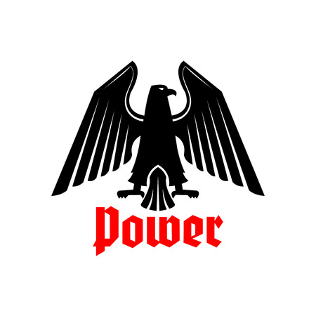 clutches: Black eagle or vulture heraldic bird icon. Royal or imperial emblem of gothic predatory griffin. Vector isolated blazon or coat of arms with royal hawk or falcon symbol of power with spread wings, sharp clutches. Heraldry sign or badge