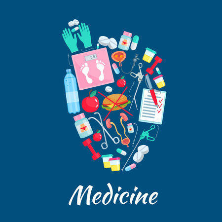simbolo medicina: Medicine poster with healthy heart symbol of medications and dieting items. Medical diet pills, weigh scales and fast food cheeseburger, tests and fitness sport barbells, apple fruit and catheter syringe in bladder, surgery and therapy instruments
