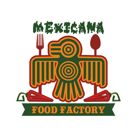 inc: Mexican restaurant emblem. Mexicana icon of vector isolated symbol of Aztec or Inca totem bird, red chili spicy jalapeno pepper, spoon and fork for traditional mexican cuisine, fast food tacos or burritos snacks, tequila drink bar