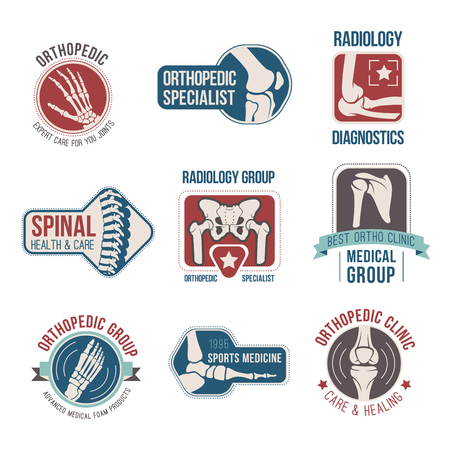 Orthopedics and radiology medical badge set. Human bone labels with hand, foot, knee, spine, arm, elbow, finger, pelvis and shoulder, ribbon banner and star. Clinic, diagnostic center, hospital design