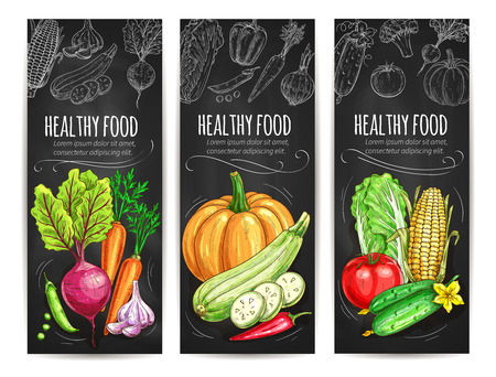 Vegetables sketch banners set. Vegetarian healthy food menu on chalkboard. Vector veggie beet and carrot, garlic, pea and pumpkin, zucchini and chili pepper, cabbage, cucumber, tomato, corn Illustration