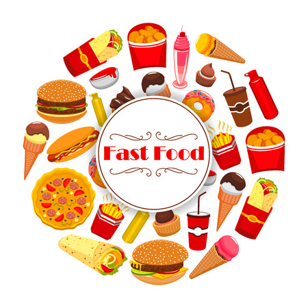 fast meal: Fast Food poster in round shape with vector snacks meal cheeseburger burger and pizza, gyros burrito or doner kebab, french fries and hot dog sandwich hamburger, chicken nuggets, ice cream and donut, soda or coffee. Takeaway or delivery menu design
