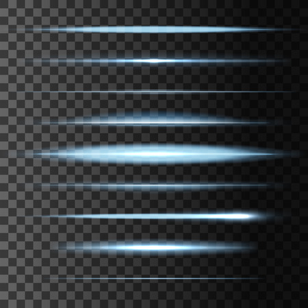 Glowing light flashes and abstract luminous blur horizontal lights lines. Vector set of linear glow stripes effect. Blue and white neon comet, sun or starlight beams and rays burst and sparkles on transparent background 矢量图像