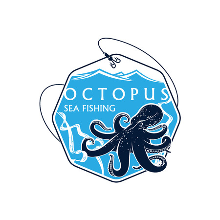 Sea or ocean seafood fishing icon with octopus and seaweed alga. Vector octagonal badge with fish rod, catch on bait hooks and blue waves. Emblem for fishery industry or company, fisherman or fisher trip sport or adventure club Illustration