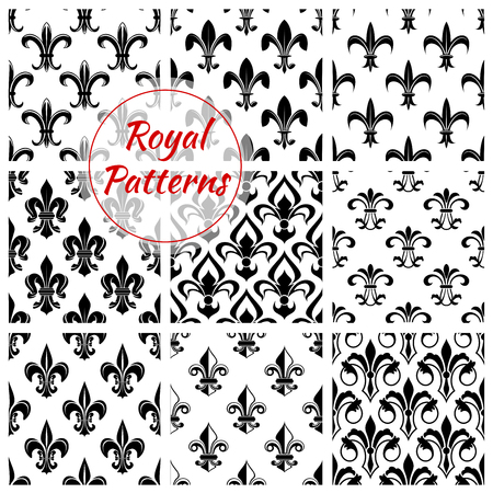 Fleur-de-lis flower floral pattern set of fleur-de-lys royal lily flower tracery. Vector background of heraldic flowery ornament and flourish ornamental embellishment backdrop for interior design. Imperial flourish ornate motif tiles Illustration
