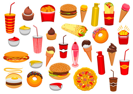 Fast Food snacks icons of cheeseburger burger and pizza, french fries and hot dog sandwich hamburger, gyros burrito or doner kebab, chicken nuggets, ice cream and donut, soda or coffee. Fastfood and sauces vector isolated set for takeaway or delivery Illustration