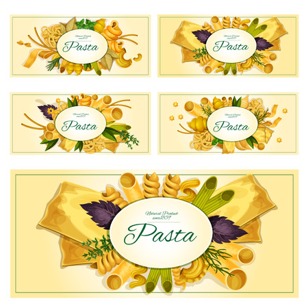 seasonings: Pasta and macaroni banners with spaghetti varieties of tagliatelli and arfalle, penne, lasagna and pappardelle, konkiloni, ravioli or bucatini with seasonings basil or oregano. Vector set of macaroni sorts for Italian cuisine restaurant menu design