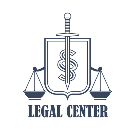 Advocacy juridical icon or legal center emblem for advocate or attorney office. Symbol of scales of justice, heraldic sword and shield. Vector isolated badge for law counsel or lawyer and notary company