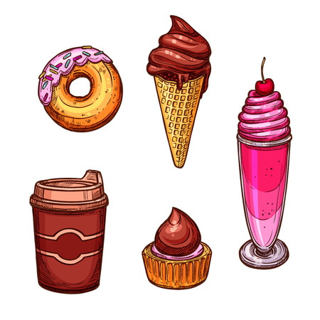 creme: Bakery vector icons of sketched sweets and desserts. Chocolate milkshake with cherry and whipped cream, glazed caramel donut, ice cream in wafer cone, cupcake and coffee cup for cafeteria, cafe,baker shop or patisserie and confectionery