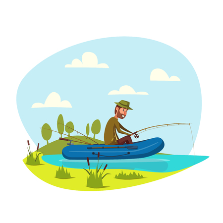 fisher man: Man in inflatable boat fishing on lake or river with fish rod. Fisherman sport outdoor recreation leisure or nature weekend adventure. Vector happy fisher man with beard waiting for nibble and catch