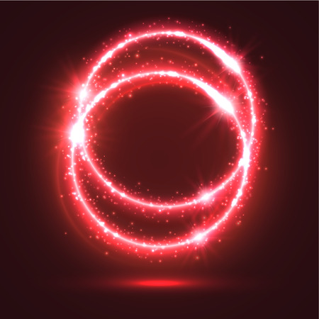 light circular: Abstract red light rings or sparkling and shining neon circles with luminous glitter sparks. Magic blur lights and flashes. Shiny shimmering particles of circular star rays and beams with glowing glittering effect Illustration