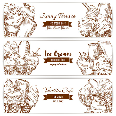 Ice cream sketch of sweet fruity ice cream desserts soft ice cream in wafer cone, glazed eskimo with whipped cream and fruit ice, chocolate sundae and fresh vanilla scoops in glass bowl. Vector horizontal banners set for cafe, gelateria restaurant.