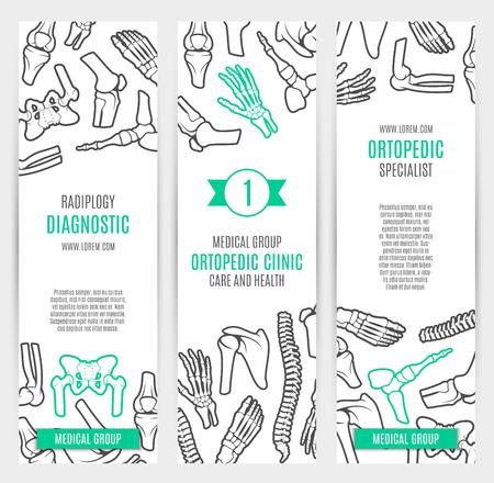 rheumatology: Medical and healthcare banner template set. Human skeleton bones and joints of hand, foot, spine, knee, elbow, pelvis, shoulder and ankle. Orthopedic clinic, radiology diagnostic center design