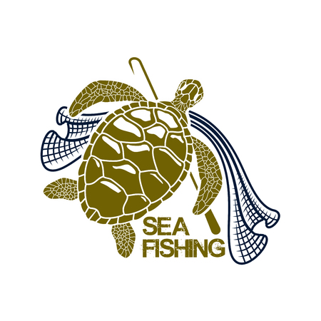 gaff: Sea or ocean fishing icon with green turtle and fish net snare and harpoon spear or gaff. Vector or emblem for fishery industry or company, fisherman or fisher trip sport or adventure club