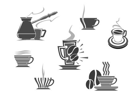fench: Coffee icons of vector isolated coffee cup and coffee makers turkish cezve and fench press. Hot espresso and creamy latte glass drinks, roasted coffee beans, coffee mill or grinder for cappuccino or moka. Vector emblems for cafe, cafeteria Illustration