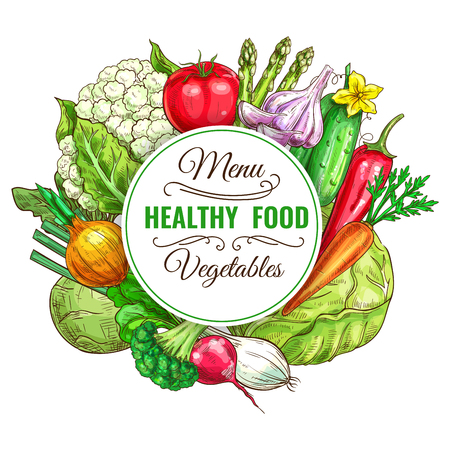Vegetable and healthy food menu poster. Fresh carrot, tomato, pepper, onion, broccoli, cabbage, garlic, cucumber, asparagus, cauliflower, kohlrabi and radish. Vegetarian food, organic shop design Ilustração