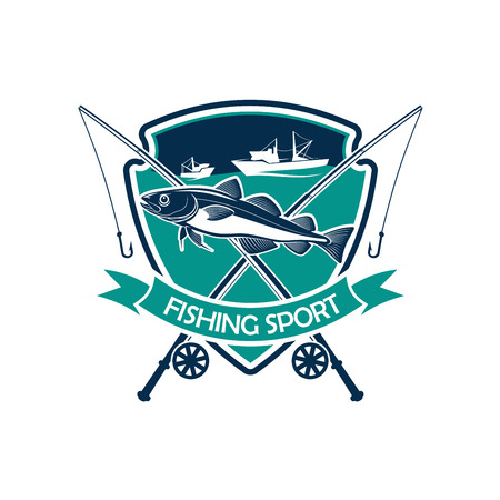 salmon fishery: Fishing icon. Fishery sport club or industry badge for fisher trip. Vector isolated emblem or sign with fishing rod with hook, fishing net, and fisherman ship boat vessel in sea or ocean, humpback salmon, trout cod or sturgeon fish Illustration