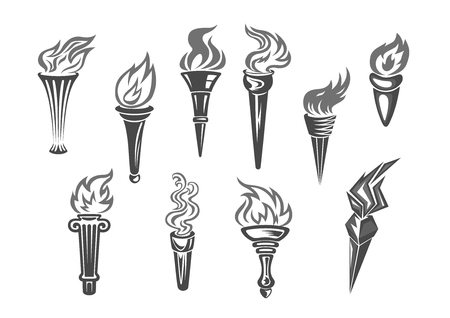 flambeau: Olympic flame or fire torch icons. Vector set of isolated burning sport or contest torches flames. Symbols of relay race, competition victory, champion or winner and football sports or sportive games championship or marathon