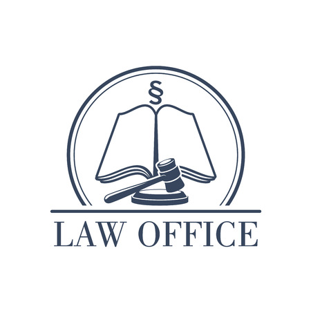 Legal office or center icon with symbol of judge gavel, justice law code, silcrow section sign or paragraph on open book. Lawyer or advocate emblem for attorney or advocacy and juridical counsel or notary company