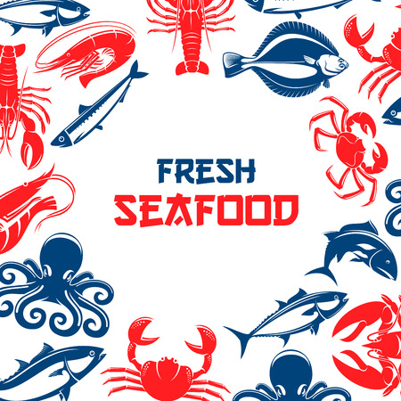 Poster for seafood and fish food restaurant or industry with shrimp, crab lobster, tuna and salmon or trout, squid and crab, herring and octopus. Vector design for seafood fish market or shop, oriental cuisine Illustration