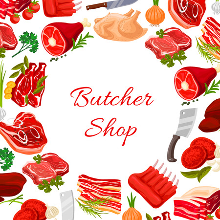 meat steak: Butchery poster with fresh farm meat products of turkey and chicken leg, pork tenderloin bacon and mutton ribs or sirloin. Butcher shop vector beef filet or t-bone steak, liver and cutlets with greens onion, garlic, parsley and cutlery knife and fork Illustration