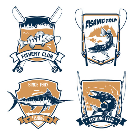 fisheries: Fishing icons set. Fisherman trip club or fishery industry vector badges or emblems with fishing rods, hook and baits, river or lake fish catch of marlin, pike, carp perch or sturgeon salmon or trout, catfish or eel Illustration