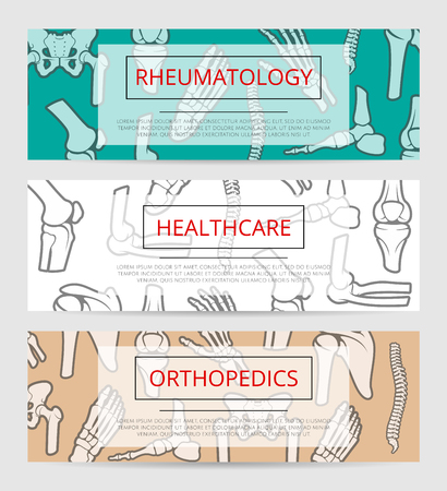rheumatology: Healthcare, orthopedics and rheumatology banner template with bones and joints. Hand, foot, spine, knee, elbow, pelvis, shoulder signs with text layout for hospital, clinic or diagnostic center design Illustration
