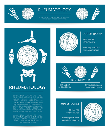 symbols: Medicine center of rheumatology banner and card template set. Hand, foot, knee, shoulder and pelvis joints with round clinic stamp and text layout. Diagnostic clinic and rehabilitation center design Illustration