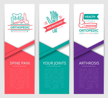 Medical diagnostic clinic banner template. Orthopedics and rheumatology health center symbols with hand, foot, pelvis and shoulder joints. Back pain, arthrosis and joint disease therapy design Ilustracja