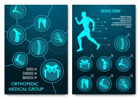 Infografía médica con tablas de anatomía ortopédica. Silueta humana en movimiento con marcada columna vertebral, pelvis, rodilla, pie, hombro, codo, huesos de la mano y articulaciones. Diseño de grupo médico de ortopedia Ilustración de vector