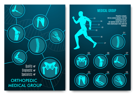Medizinische Infografik mit orthopädischen Anatomie Charts. Menschliche Silhouette in Bewegung mit deutlichen Wirbelsäule, Becken, Knie, Fuß, Schulter, Ellenbogen, Hand Knochen und Gelenke. Orthopädie medizinische Gruppendesign Vektorgrafik