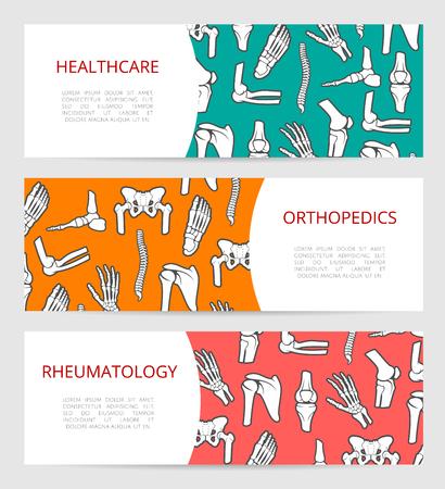 Conjunto de plantilla de banner médico para la cirugía ortopédica, la clínica de reumatología y la rehabilitación centro de salud diseño con el hueso humano pierna, la mano, el pie, la columna vertebral, el hombro, el codo y la pelvis huesos y articulaciones