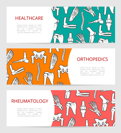 rheumatology: Medical banner template set for orthopedic surgery, rheumatology clinic and rehabilitation health center design with human skeleton leg, hand, foot, spine, shoulder, elbow and pelvis bones and joints