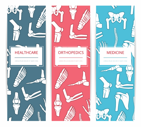 rheumatology: Medicine, health care and orthopedics banner template set. Medical and diagnostic clinic, rehabilitation health center card design with bones of foot, hand, spine, knee, pelvis and shoulder joints