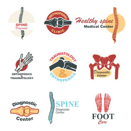 rheumatism: Orthopedics and traumatology emblem set. Human skeleton bones and joints of leg, hand, spine, foot, pelvis and knee symbols for medical clinic, diagnostic center badge and label design Illustration