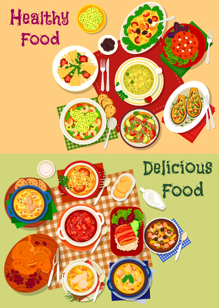 fresh vegetable: Russian cuisine soup and fresh salad dishes icon set with vegetable, meat and pasta salad, beef, chicken, fish soup with mushroom, sausages, cheese dumpling and olive, baked chicken and eggplant snack