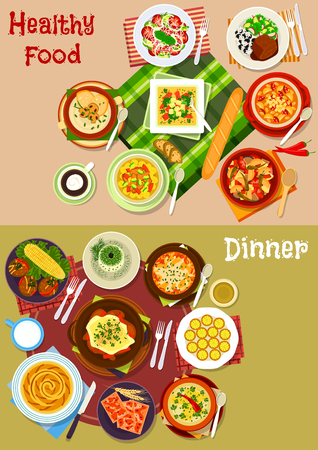 Bulgarian cuisine popular dishes icon set with vegetable stew and salads with cheese, bean, sausage and yogurt, tomato, bean, ham and mushroom soups, meatball, baked lamb, cheese pie and puff
