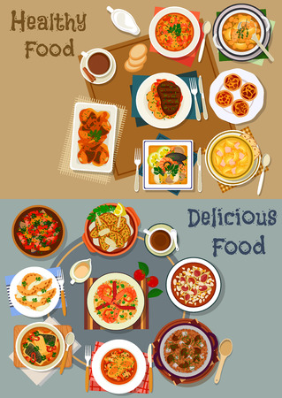 Portuguese cuisine popular dishes icon set with vegetable, fish and bean stew, seafood salad, soups with fish, tomato, bean and sausage, meat dumpling, chili chicken, custard cake, almond pie Imagens - 71257742