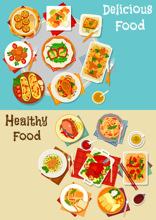lasagna: Healthy food for lunch icon set of baked stuffed vegetables with cheese, grilled fish, fried pork, chicken noodle, meat roll with ham, shrimp pasta, spinach lasagna, turkey leg with berry sauce Illustration