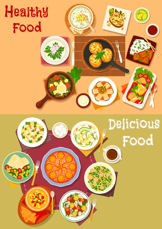 sorrel: Healthy lunch dishes with fruit dessert icon set of fish dishes with vegetables and rice, vegetable cold soup, salads with chicken, cheese, olive, pork, egg and zucchini, chilli corn soup, apricot pie