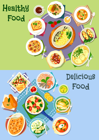 nutritious: Nutritious dinner icon set of vegetable casserole with meat, cheese and sausage, grilled seafood, fried fish with veggies salad, pasta with liver, pumpkin lasagna, cheese roll, fish soup, liver toast Illustration
