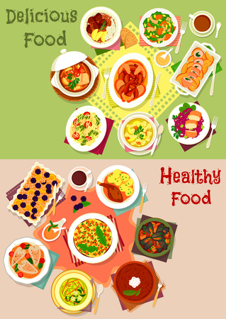 Dinner dishes top view icon set with vegetable, fish, beef pasta soup, baked pork and chicken, fruit pie, seafood and chicken stew, pumpkin salad, omelette with veggies, squid, rice pudding, casserole Illustration
