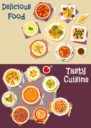 cream cheese: Salad, soup and pastry dishes icon set of cream soup with fish, meat, shrimp and vegetables, bean beef stew, cheese cake, vegetable meat and salmon pie, grilled seafood, berry pie, bean salad