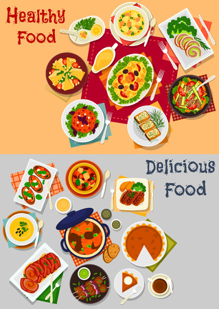 main dishes: Dinner menu with main dishes and dessert icon of baked meat, salads with vegetable, pork, cheese, chicken and pasta, pork bean stew with veggies, pumpkin pie, salmon soup, cheese and fish sandwiches