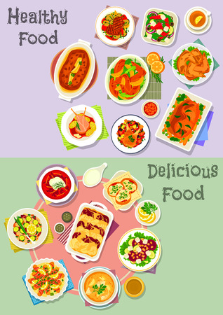 Hearty dishes icon set with vegetable, fruit salad with cheese, fish and nut, fish cupcake, baked chicken, beef, pork meatloaf with veggies and fruit sauce, fish in bacon with pasta, fish soup