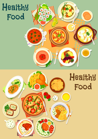 potato chip: Popular lunch food icon set with sushi roll, pizza, chicken leg with fries, grilled meat with vegetables, lamb stew, soups with chicken, fish, meatball, tomato and lentil, potato chip, cheese sandwich Illustration